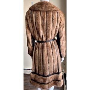 Jackets & Blazers - Vintage Mink Fur Coat with Leather Accents Sz S